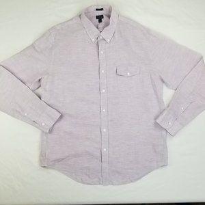 J Crew Slim Men's Lavender Linen Button Down XL